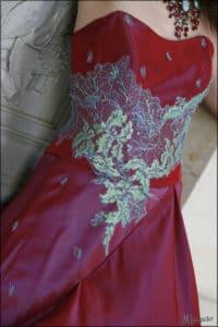 création robe sur mesure, robe rouge de mariée