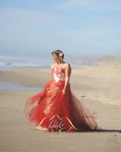 création robe sur mesure bordeaux, robe de mariée rouge Lolita C